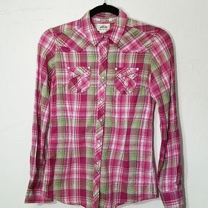 Ariat Fitted shimmer Plaid Western snap down top
